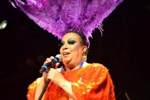 Maria Alcina no palco do Sesc Belenzinho. 14.2.2014 (Foto: Alexandre Eça)
